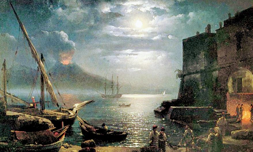 Dipinto di Jean Baptiste Camille Corot datato 1828 Chiaro di Luna a Napoli-Natura